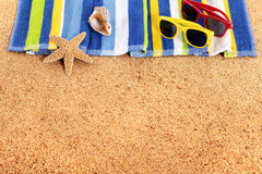 Beach sunbathing border background, sunglasses, copy space Royalty Free Stock Photo