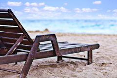 Beach with sunbed Stock Images