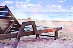 Beach with sunbed Stock Photography
