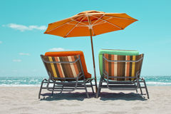 Beach sunbeds Stock Photography