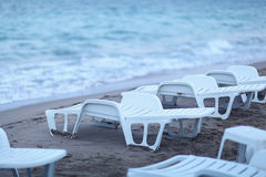 Beach with sunbeds Royalty Free Stock Images