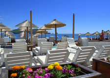 Beach sunbeds Royalty Free Stock Photo