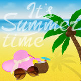 Beach with sunglasses, cocktail, starfish and hat. Summer greeting card design with lettering. Web banner tourist site. Royalty Free Stock Photography