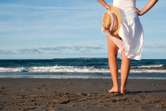 Beach with  sunhat Royalty Free Stock Image