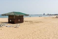 On the beach of Sunny Beach in Bulgaria stock image