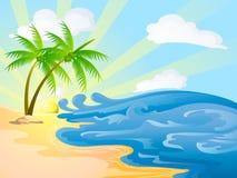 Beach on sunny day. Beach with coconut trees on sunny day Royalty Free Stock Photos