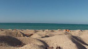 Beach at sunny day. Wide shot from the ground stock video footage