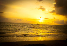 Beach sunrise. Beautiful sunset on the beach of Mexico Stock Images