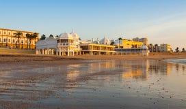 Beach in sunrise time. Cadiz Royalty Free Stock Image