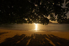 Beach Sunset. Port Launay Marine national park beach, Mahe, Seychelles royalty free stock photo