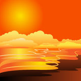 Beach sunset. In orange colors Royalty Free Stock Image