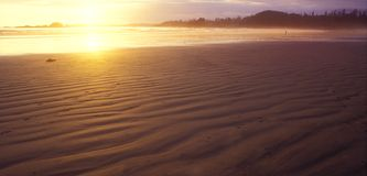 Beach sunset. Warm, golden sunset over a wide, deserted  beach Stock Photo