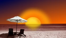 Beach and sunset Royalty Free Stock Photo