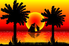Beach sunset. Illustration of tropical beach sunset Stock Images