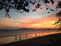 Beach. And Sunset Royalty Free Stock Photography