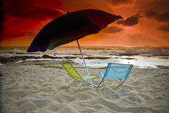 Beach sunset Stock Images
