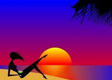 Beach Sunset. With Silhouetted Girl and Palms Stock Images