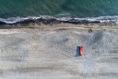 Beach at sunset aerial view Stock Photography