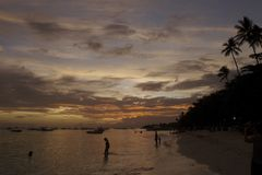 Beach at sunset in Alona Beach in Bohol Philippines Stock Images