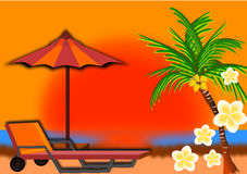 Beach on sunset background Royalty Free Stock Photos