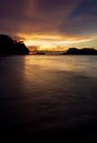 Beach sunset at Bako national park Borneo Stock Image