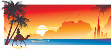 Beach Sunset Banner. Sunset at the beach and owner of the camel Stock Photo