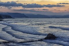 In the beach at sunset. Sunset in the beah of sopelana Royalty Free Stock Photography