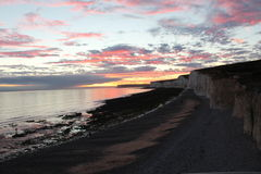 The Beach at Sunset. Sunset @ Birling Gap, Nr Eastbourne, East Sussex royalty free stock photo