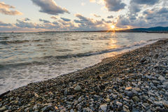 Beach. Sunset on the black sea Stock Photography