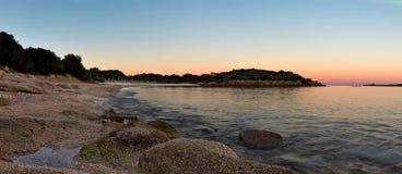 Beach. Sunset on the beach of Cannigione - Sardinia Stock Photo