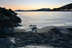 Beach at sunset. Cavi di Lavagna. Liguria, Italy Stock Photo