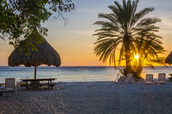 Beach sunset in Curacao a Caribbean Island Royalty Free Stock Image