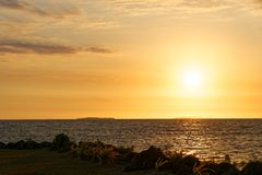 Beach sunset in Fiji royalty free stock images