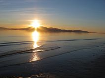 Beach Sunset @ isle of Arran, Scotland royalty free stock photo