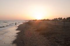 Beach sunset Izmir Turkey Royalty Free Stock Photography