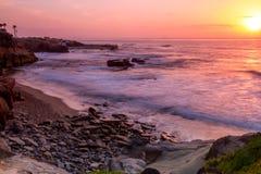Beach Sunset. At La Jolla, California stock photography