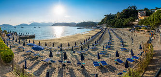 Beach at sunset in Lerici, Liguria Stock Photo