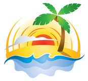 Beach Sunset Logo. The sun sets on a beach scene in this peaceful logo icon Royalty Free Stock Photos