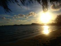 BEACH &SUNSET@NANGRUM. RAYONG #BEACH#THAILAND#SUNSET#RELAX#SAY GOOD FEEL Royalty Free Stock Photos
