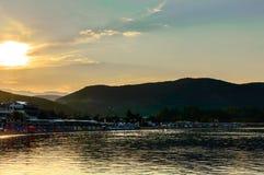 Beach at sunset. In Nea Iraklitsa Greece Royalty Free Stock Photos