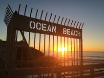 Beach Sunset. Ocean beach in San Diego royalty free stock photo