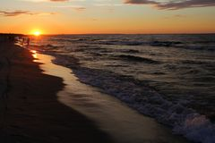 Beach, sunset over the Baltic Sea stock photo