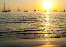 Beach sunset in over light the sun Royalty Free Stock Images