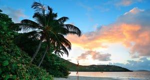 Beach sunset panorama Stock Photos