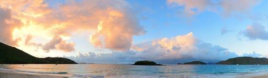 Beach sunset panorama Royalty Free Stock Photos