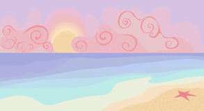Beach and sunset with pastel colors. Vector illustration Royalty Free Stock Photography