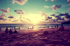 Beach sunset scenery Royalty Free Stock Images