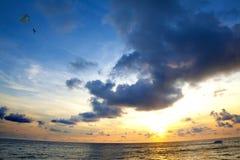Beach sunset seascape Stock Images
