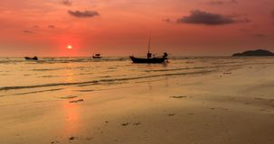 Beach at sunset Time lapse. Beach at sunset There are fishing boats parked beautifully stock video footage