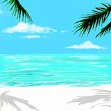 Beach in sunset time. Illustration of beach in sunset time, ocean background stock illustration